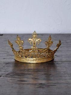 Antique French Crown Tiara    Item Number: RA513  Antique French Crown Tiara with 5 Fleur-De-Lis