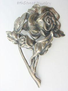 Estate Large Danecraft Sterling Silver 925 Open Rose & Rosebud Brooch Pin #Danecraft