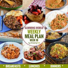 Slimming Eats Weekly Meal Plan – Week 18 - taking the work out of planning, so that you can just cook and enjoy the food. slimming world diet plan Extra Easy Slimming World, Slimming World Recipes Syn Free, Slimming World Diet, Slimming Eats, Diet Recipes, Cooking Recipes, Healthy Recipes, Quark Recipes, Weekly Recipes