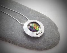 Pretty locket with Swarovski crystal, hidden message inside