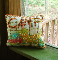 Happy Campy Freehand Embroidered Pillow Made To by YelliKelli, $45.00