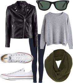 Eleanor Calder Inspired Outfit for a cold rainy ...-- except the leather jacket