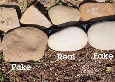 how to make fake rocks & real rocks are so hard to come by? WHAT, who makes their own rocks! Concrete Projects, Outdoor Projects, Garden Projects, Concrete Crafts, Clay Projects, Outdoor Ideas, Outdoor Decor, Diy Faux Rocks, Artificial Rocks