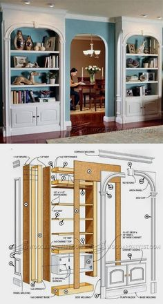 Classic Arch-Top Bookcases Plans - Furniture Plans and Projects   WoodArchivist.com  #WoodworkPlans