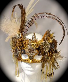The Golden Empress Venetian Masquerade Mask by Marcellefinery