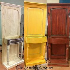 Here is a better process comparison of our repurposed door project. This Hall Tree was created using a new solid wood door, dresser drawer,… Diy Garden Furniture, Old Furniture, Refurbished Furniture, Repurposed Furniture, Furniture Projects, Furniture Making, Furniture Makeover, Painted Furniture, Furniture Online