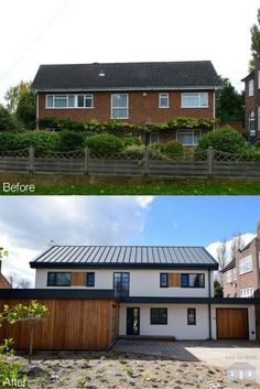 How to transform your home. This exterior facelift in Bromley has had a complete renovation inside and out. A contemporary style exterior has rejuvenated this family home. To find out more, please visit our website: www. House Cladding, Facade House, Home Exterior Makeover, Exterior Remodel, Modern Exterior, Exterior Design, Rendered Houses, House Makeovers, House Extensions