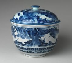 Large tureen and cover with landscape decoration, Edo period (1615–1868), late 17th century  Japan  Porcelain with underglaze blue (Arita ware)