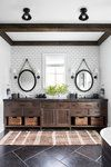 Eclectic modern farmhouse with unexpected pops of color in New York Crisp Architects along with Change & Co. designed this eclectic modern farmhouse as a weekend retreat for a young family in upstate New York. Bathroom Interior, Modern Bathroom, Master Bathroom, Rustic Bathrooms, Bathroom Mirrors, Washroom, Rental Bathroom, Rustic Bathroom Vanities, Rustic Bathroom Decor