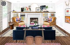Eclectic, Bohemian, Midcentury Modern Living Room Design by Havenly Interior Designer Annie Let Havenly create your dream space through a fun and affordable online design process. All online. Fine Home Building, Boho Living Room, Living Room Design Modern, Modern Room Design, Boho Chic Living Room, Living Room Designs, Mid Century Modern Living Room, Eclectic Living Room, Havenly Living Room