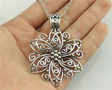 WYSIWYG moda basit antika gümüş ton 66*47mm BÜYÜK Çiçek kolye kolye, 70 cm zincir uzun kolye(China (Mainland))