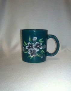 Floral Coffee Cup Green Handpainted Mug by JasminesTreasuresLLC, $12.50