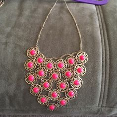 Statement necklace Bright pink boho necklace. Jewelry Necklaces