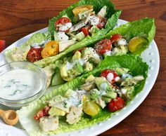 Recipe for chicken and avocado lettuce boats with buttermilk Dijon dressing from The Perfect Pantry (Sounds so good, and SBD Phase 1)