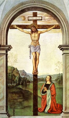 And Jesus said unto him, Verily I say unto you, Today shall you be with me in paradise [Luke 23:43].  The Crucifixion ~ Pietro Perugino [1494 - 1496];  Santa Maria Maddalena dei Pazzi, Florence, Italy