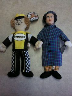 LARRY THREE STOOGES DOLL PLUSH VINYL DETECTIVE  & RACECAR DRIVER w/TAGS #SOITENLYSTOOGES