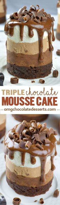 Chocolate lovers dream come true!!! Triple Chocolate Mousse Cake Minis are the chocolate cake you've been dreaming of! 6 layers of chocolate!!!