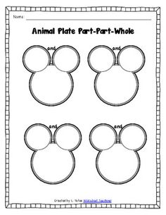 Animal Plate Math-Counting, Part-Part-Whole, Addition, Fac (Seriously, all I can see is Mickey Mouse ears, but whatever...)