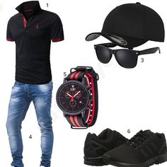 Schwarzer Herren-Style mit Leif Nelson Shirt (m0341) #outfit #style #fashion #menswear #mensfashion #inspiration #shirts #weste #cloth #clothing #männermode #herrenmode #shirt #mode #styling #sneaker
