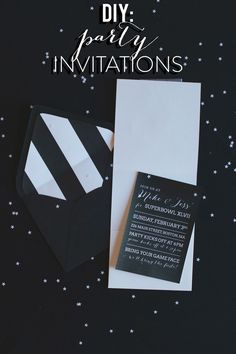 Love this Black and White Invite!   A Super Bowl Party, The Invitations  Read more - http://www.stylemepretty.com/living/2013/01/27/super-bowl-party-invitations/