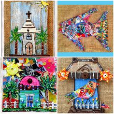 Some of my favorite pieces I made in 2015! #RecycledArtist #FolkArt #UpCycleIt #MadeintheSouth #GreenArt #CreativeReuse