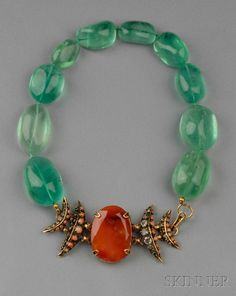 FINE JEWELRY - SALE 2610B - LOT 295 - FLUORITE AND AGATE NECKLACE, IRADJ MOINI, THE LARGE FACETED AGATE CENTER FLANKED WITH CRESCENTS SET WITH SMOKY QUARTZ AND CORAL, AND SU - Skinner Inc