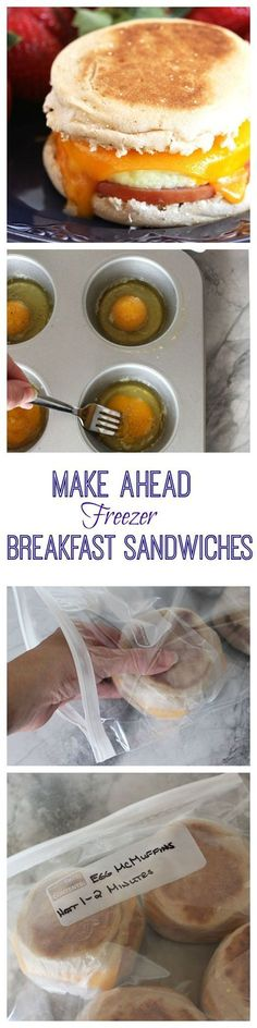 Easy, make ahead breakfast sandwiches that are ready when you are.  These copycat Egg McMuffins are frozen for quick, healthy breakfasts on the go.   @suburbansoapbox