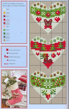 Christmas hearts perler bead pattern