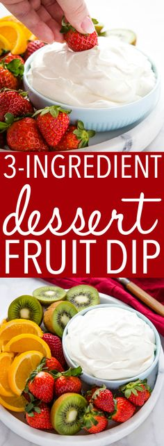 This Fruit Dip is an easy dessert dip for summer! It's made with only 3 simple ingredients and it's perfect for dipping fruit or cookies! Easy Summer Desserts, Easy No Bake Desserts, Köstliche Desserts, Delicious Desserts, Yummy Food, Health Desserts, Yummy Snacks, Summer Recipes, Dessert Dips