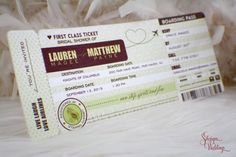 These super awesome invitations are in the shape of a boarding pass and are perfect for a travel theme event. Printed on shimmery quartz and have gold matching envelopes.   Boarding Pass Invitations | Bridal Shower | Wedding | Birthday | Fall | Autumn | Travel | Gold | Leaves | Leaf | Burgundy | Plane | Heart
