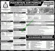 Pakistan Air Force Jobs 2017 PAF Latest Advertisement Through Commission