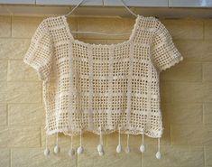Boho Crochet Crop Top by TinaCrochet2016 on Etsy