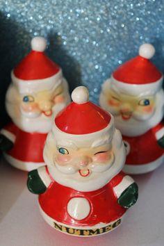 Holt Howard Winking Santa Nutmeg Shaker and Salt and Pepper Set