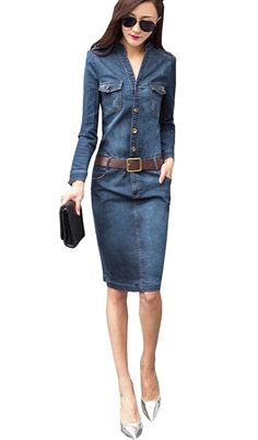 Sherri Women's Elegant Slim Long Sleeve Denim Button Shirt Dresses With Belt *** Check out the image by visiting the link.