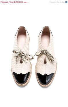 2340f8bcbd CIJ SALE 35% OFF Oxford flat shoes white and black by ImeldaShoes Black And  White