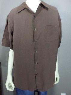 Tasso Elba S.P.A. Large Men's Short Sleeve Button Down Shirt - Brown  #TassoElba #ButtonFront
