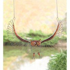 Flying Antique Metal Owl Wall Art in Metal Yard Sculpture