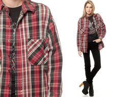 Plaid Shirt 90s Black White Red Cotton Flannel Button by ShopExile, $20.00