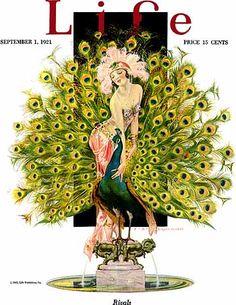 """""""Rivals"""" ~ Art Deco illustration by Joseph Christian Leyendecker for the September 1, 1921 cover of Life Magazine"""