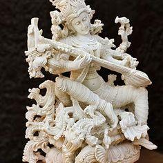 Saraswati Statue Hindu Goddess Saraswati marble statue by lokalart Saraswati Statue, Sculptures, Lion Sculpture, Beautiful Goddess, Hindu Art, Lord Shiva, Gods And Goddesses, Buddha, Creative