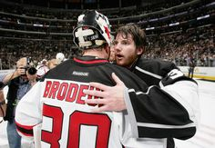 MVP Jonathan Quick of the L.A. Kings is congratulated by Martin Brodeur of the Devils after the Kings win 6-1 in the sixth game and 4-2 in the series to win the 2012 Stanley Cup for the first time in the Kings' 45 year history