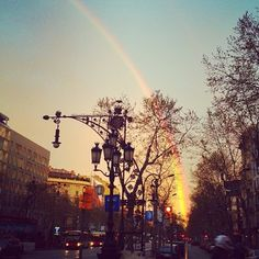 Magic in the city. Rainbow in Barcelona.