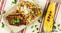 Cook with Home Chef today! Chili-Rubbed Pork Chop with Corn Salsa and ...