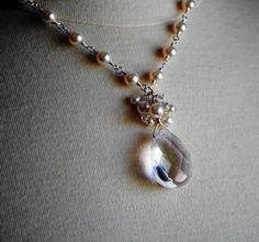 Pearl Bridal Necklace Clear Quartz Faceted Teardrop by BGBJewelry, $39.00