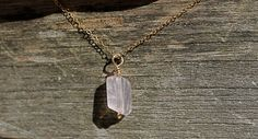 14K Gold Filled Rose Quartz Chunk Necklace/faceted by TreasureMae