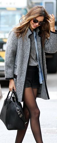 Miranda Kerr, NY- gray coat