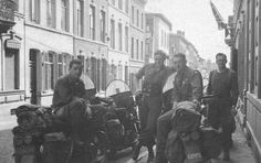MPs from the 82nd Airborne Division with their bikes in Liege, Belgium in late 1945.  (rw)