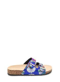 7f31e3e35c4486 Buckled Up Satin Floral Slide Sandals BLUE RED - GoJane.com Blue Sandals