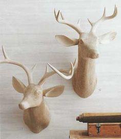 Roost Carved Wood Deer Head, Facing Right