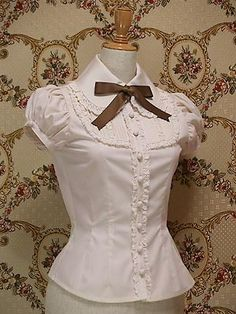 plus size summer women office tops short sleeve lace white gothic lolita blouse cosplay costume female shirts * This is an AliExpress affiliate pin. Click the VISIT button to find out more on AliExpress website Moda Lolita, Lolita Mode, Style Lolita, Gothic Lolita, Lolita Cosplay, Vintage Outfits, Vintage Fashion, Vintage Style, White Shorts Womens